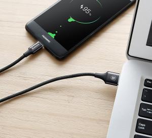 Cablu USB-C cu iluminare LED Baseus Rapid 1m 2A (negru)