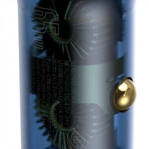Incarcator auto Baseus Particular Digital Display, USB + USB-C, QC3.0+PD, 5A, 65W (gri) + Cablu USB-C 1m 100W (negru)