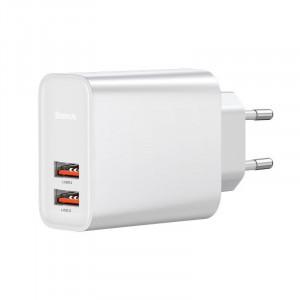 Incarcator retea Baseus 2x USB QC 3.0 30W (alb)