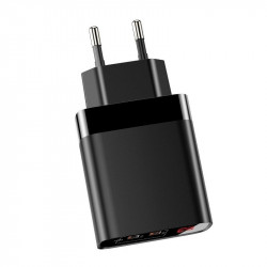 Incarcator retea Baseus Mirror Lake cu display, 2x USB, QC 3.0, 18W (negru)