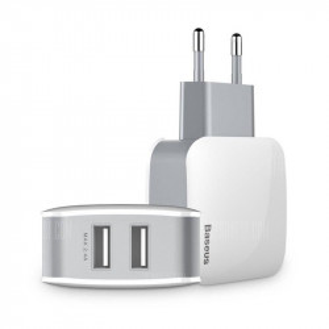 Incarcator retea Leteur Baseus 2x USB 2.4A (alb-gri)