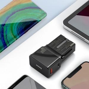 Incarcator universal de retea Baseus, QC 3.0, PD, USB + USB-C, 100-240V, 18W, EU/US/UK/AU (negru)