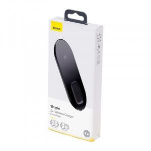Incarcator wireless Qi 2in1 Baseus Simple, 15W pt telefon si Apple Airpods Pro (negru)