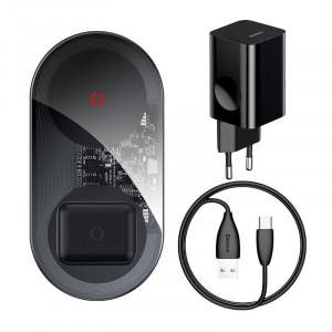 Incarcator wireless Qi 2in1 Baseus Simple Turbo, 20W pt telefon si Apple Airpods (transparent)
