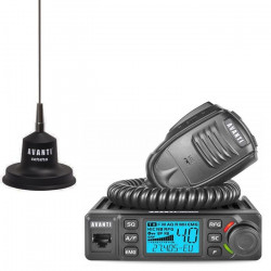 Pachet statie radio CB Avanti Delta 12V - 24V cu antena Avanti Carera de 96cm