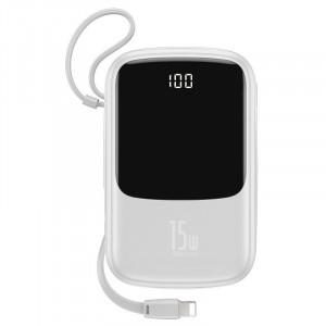 Powerbank Baseus Qpow cu cablu Lightning, 10000mAh, 3A, 15W (alb)