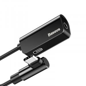 Adaptor Audio Baseus L45 USB-C la Mini Jack 3.5mm i USB-C (negru)
