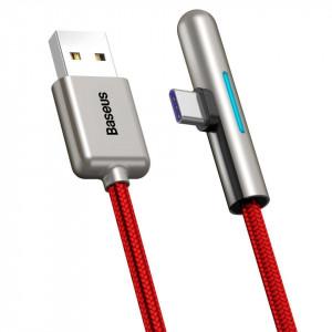 Cablu 90 grade plat USB-C Baseus Iridescent, Huawei SuperCharge, 40W, 1m (rosu)