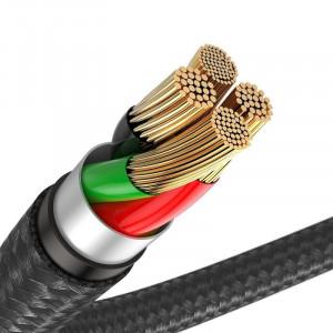 Cablu Lightning cu LED Baseus Horizontal 0,5m 2.4A (negru)
