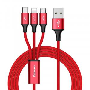 Cablu USB Baseus Rapid 3in1 Type C / Lightning / Micro 3A 1,2m (rosu)