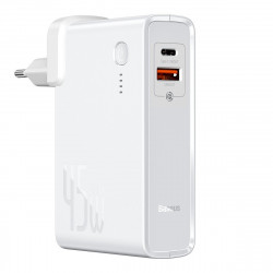 Incarcator GaN + powerbank 10000mAh 2in1 Baseus Power Station, USB + USB-C, QC 3.0, PPS, PD 3.0, 5A, 45W (alb)