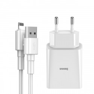 Incarcator retea Baseus Speed Mini 10.5W cu cablu USB Lightning 2.4A 1m (alb)