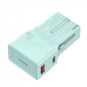Incarcator universal de retea Baseus, QC 3.0, PD, USB + USB-C, 100-240V, 18W, EU/US/UK/AU (albastru)