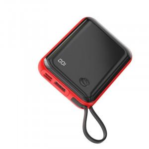 Powerbank Baseus Mini S cu cablu USB-C, 10000mAh, 3A, 15W (rosu)
