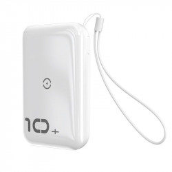 Powerbank Baseus Mini S cu incarcare wireless, 10000mAh, 18W, USB (alb)