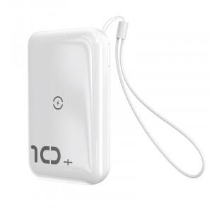 Powerbank Baseus Mini S cu incarcare wireless, 10000mAh, 18W, USB (alb)