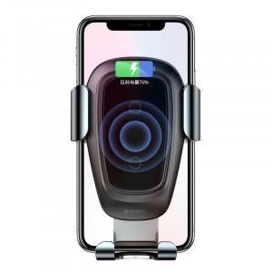 Suport telefon auto gravitational Baseus Metal cu incarcare wireless Qi (negru)
