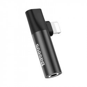 Adaptor Audio Baseus L43 Lightning la Mini Jack 3.5mm + Lightning (negru)
