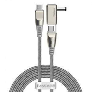 Cablu 2in1 Baseus Flash Series, USB-C la USB-C / cu mufa DC 5.5x2.5mm, 100W, 2m (gri)