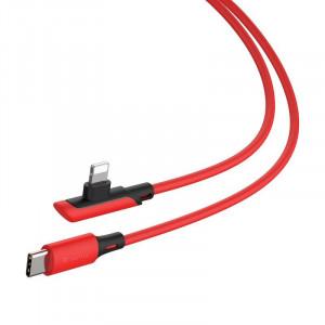 Cablu 90 grade USB-C - Lightning Baseus Colourful, PD, 18W, 1.2m (rosu)