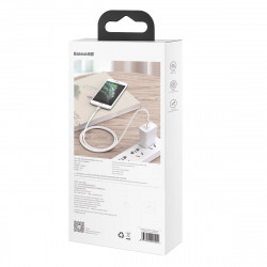 Cablu metalic Lightning Baseus Cafule, 2.4A, 1m (alb)