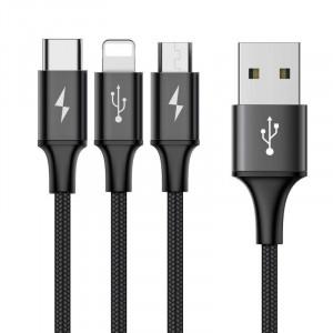 Cablu USB Baseus Rapid 3in1 USB Typ-C / Lightning / Micro 1,2m - negru