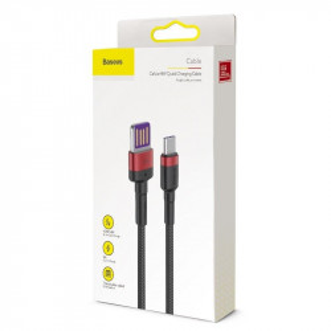 Cablu USB-C Baseus Cafule Huawei SuperCharge, QC 3.0, 5A 1m (negru-rosu)
