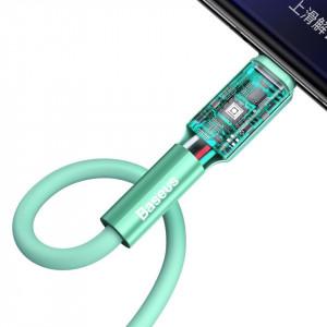 Cablu USB-C Baseus Silica Gel, 3A, 1m (verde)