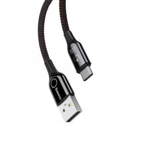 Cablu USB-C cu LED Baseus C-shaped QC 3.0 1m (negru)