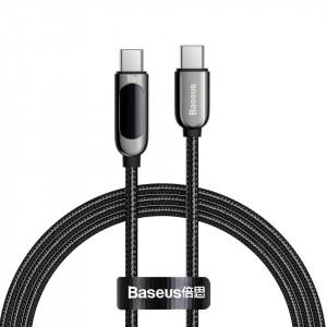 Cablu USB-C la USB-C Baseus Display, 5A, 100W, 1m (negru)