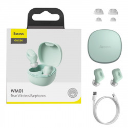 Casti wireless Baseus Encok WM01, Bluetooth 5.0 (verde)
