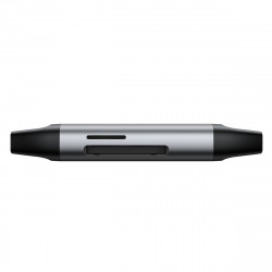Cititor card de memorie SD/micro SD Baseus Lentil, USB + USB-C, USB 3.0, aluminium (gri)