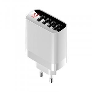 Incarcator retea Baseus Mirror Lake, 4x USB, 6A, 30W (alb)