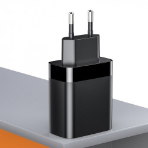 Incarcator retea Baseus Mirror Lake cu display, USB + USB-C, QC 3.0, PD 18W (negru)