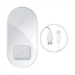 Incarcator wireless Qi 2in1 Baseus Simple 15W pt telefon si Apple Airpods (alb)