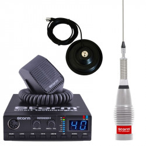 Promotie statie radio CB Storm Defender + antena CB Storm ML145 Silver + baza magnetica 145PL