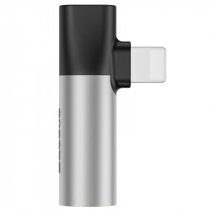 Adaptor Audio Baseus L43 Lightning la Mini Jack 3.5mm + Lightning (argintiu)