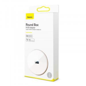 Adaptor USB 3.0 Baseus Round Box, HUB USB/USB-C la 1x USB 3.0 + 3x USB 2.0, 1m (alb)