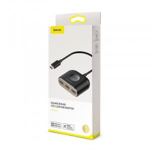 Adaptor USB-C 4in1 Baseus Square Round, HUB USB-C la 1x USB 3.0 + 3x USB 2.0, 17cm (negru)
