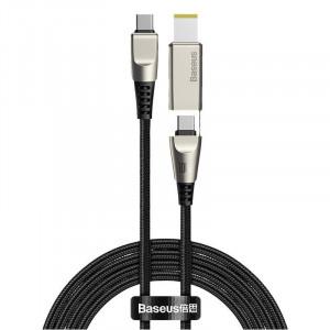 Cablu 2in1 Baseus Flash Series, USB-C la USB-C / cu mufa Lenovo, 100W, 2m (negru)