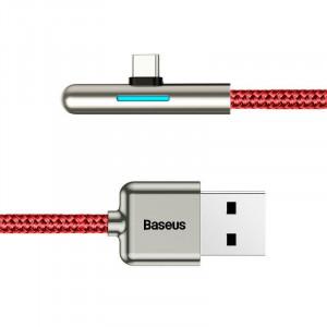 Cablu 90 grade plat USB-C Baseus Iridescent, Huawei SuperCharge, 40W, 2m (rosu)