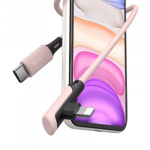 Cablu 90 grade USB-C - Lightning Baseus Colourful, PD, 18W, 1.2m (roz)
