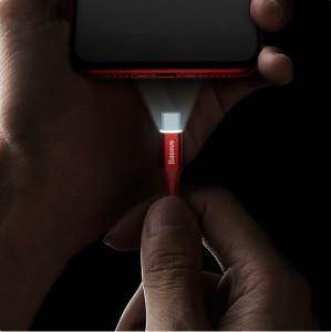 Cablu Lightning Baseus cu LED indicator 1m (rosu)