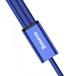 Cablu USB Baseus Rapid 3in1 Type C / Lightning / Micro 3A 1,2M - albastru