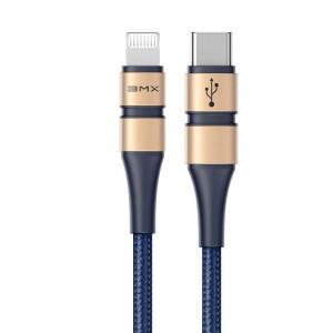 Cablu USB-C - Lightning Baseus BMX Double-deck, MFi, Power Delivery, 18W, 1,8m (albastru-auriu)
