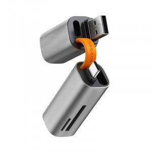 Cititor card de memorie SD/micro SD Baseus Mini-cabin, USB + USB-C, USB 3.0, aluminium (gri)