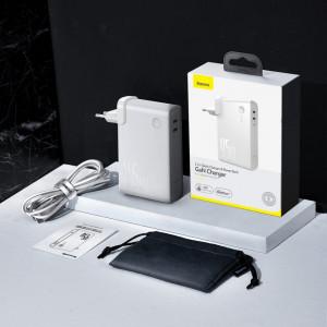 Incarcator GaN + powerbank 10000mAh 2in1 Baseus Power Station, 2x USB-C, PPS, PD 3.0, 5A, 45W (alb)