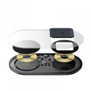 Incarcator wireless Qi 2in1 Baseus Simple, 15W pt telefon si Apple Airpods Pro (transparent)