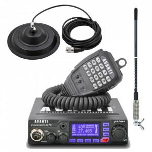 Kit statie radio CB Avanti Primo *PRO-version* + Antena radio CB Sirio T3-27 si baza magnetica 145 DV