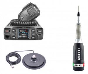 Pachet statie radio CB Avanti Morini Forza (versiunea PRO) cu antena radio CB Avanti Regale Plus si baza magnetica 170PL